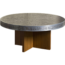 1960's Belgian Round Coffee Table with Embossed Graphic Top