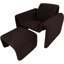 1970's Steiner Style Armchairs and Foot Stools