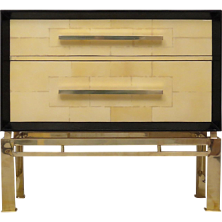 Commode in Vitrified Parchment, brass legs, Italy 1950s