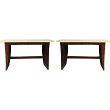 Pair of French Deco Console Tables in Bubinga and Parchment