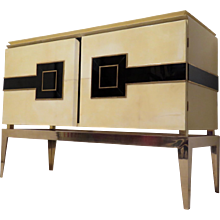 Sideboard Vitrified Parchment, Brass Legs, Italy 1950s