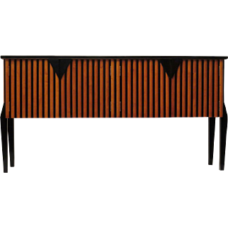 Cherry Sideboard and Black Lacquered, Italy, 1940s