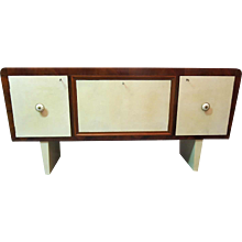 Italian Style Walnut and Parchment Sideboard