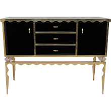 Sideboard All in Black Glass and Brass