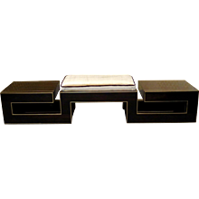 Pouf in Macassar and Brass