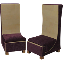 Two Armchairs in Parchment Brass and Purple Chenille, Italy 1950.