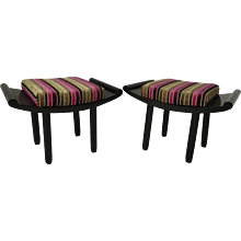 Pair of Black Lacquered French Benches, 1930s