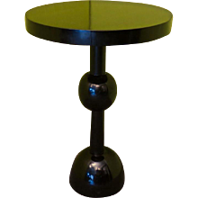 Shapely Art Deco Black Lacquered Occasional Table
