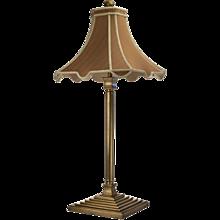 Vintage Brass Pyramid Table Lamp with Pagoda Silk Shade