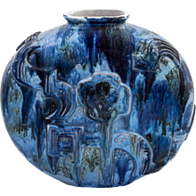 Floral  Ceramic Vase nr. 107 Attributed to Vally Wieselthier for Wiener Werkstatte