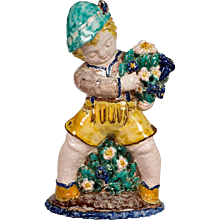 Austrian Steyr Sommerhuber Styrian Putto with Lederhose and Flowers ca. 1925