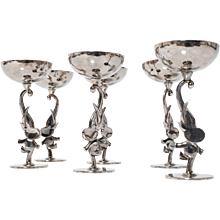 Werkstatte Hagenauer Liquer Glasses with Elephants ca 1940