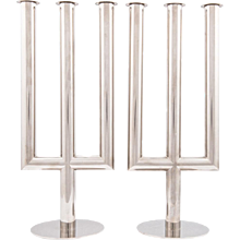 Pair of Hagenauer Nickel Plated Candelabra ca. 1930