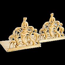 2 bookends Werkstatte Hagenauer Wien designed by Karl Hagenauer brass ca. 1928