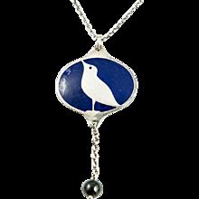 Wiener Werkstätte  Koloman Moser ca. 1904 Bird Silver Collier Enamel  with Bloodstone