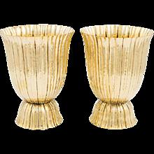 Pair Josef Hoffmann vases brass Wiener Werkstatte ca. 1921