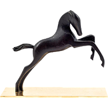 Werkstatte Hagenauer Vienna pouncing foal Brass partially patinated ca. 1940 marked