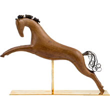 Werkstatte Hagenauer Vienna Galloping Horse Precious Wood Brass partially patinated ca. 1950 marked
