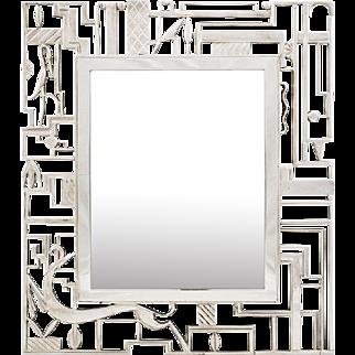 Werkstätte Hagenauer Vienna Relief Mirror design from 1930s marked
