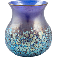 Cobalt Phenomen Gre 377 Crackled Vase by Johan Loetz