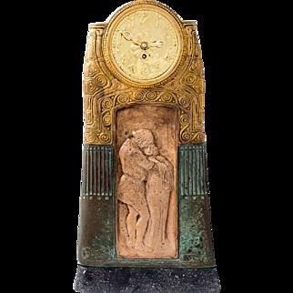 Gustav Gurschner Table clock with lover's pair 1913, k. k. Kunstgießerei Wien