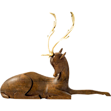 Werkstatte Hagenauer fallow deer brass and wood figurine ca. 1930