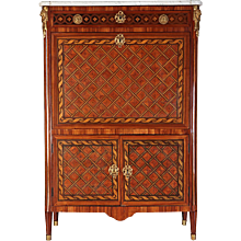 18th Century Ormulu Mounted Marquetry Secretaire Abattant with White Marble Top