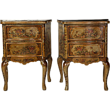 Pair of Small Italian 19' century Lacquered Commodes