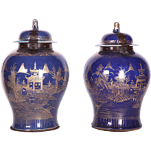 Pair of 18th Century Chinese Powder Blue, Gilt Decorated Jars
