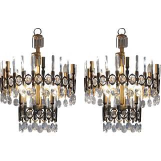 Pair of Gaetano Sciolari Chandeliers, 1970