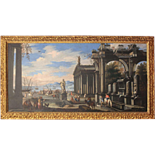 Capriccio of a Mediterranean Port  and classical Architectural Ruins