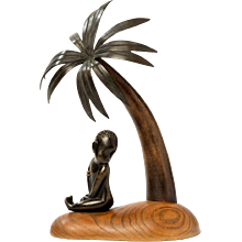 """African Child under Palm Tree"" by Hagenauer Werkstätte"