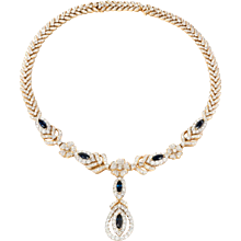 Gorgeous Sapphire Diamond Gold Necklace