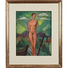 "Tempera Painting ""Nude at the Lake"""