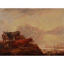 """Oil On Wood """"Cows and Sheep"""""""