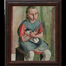 """Maedchen mit Katze""  ( Girl with a Cat ) by Gitta Gurlitt"