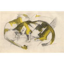 """Two Cats"" ( Zwei Katzen ) by Franz Marc"