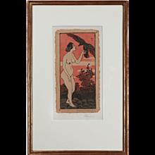 """Stehender Frauenakt mit Kraehe"" ( ""Nude Woman with Crow"" )"