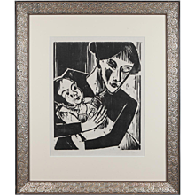 "Woodcut ""Einäugige Mutter"" ( ""One-Eyed Mother"" ) by Hermann Max Pechstein"