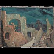 """""""Verfallener Palazzo Im Mondlicht"""" Oil Paint by Walter Wellenstein"""