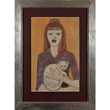 """Maedchen mit Katze""  ( Girl with a Cat ) Gouache on Paper"
