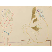 """""""Painter and Model"""", Colour Lithograph by Pablo Picasso"""