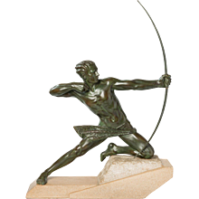 "Impressive French Art Deco Sculpture ""Spartiate"" (""An Archer"") by Max Le Verrier"