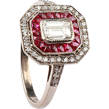 An Art Deco Ruby and Diamond Cluster Ring