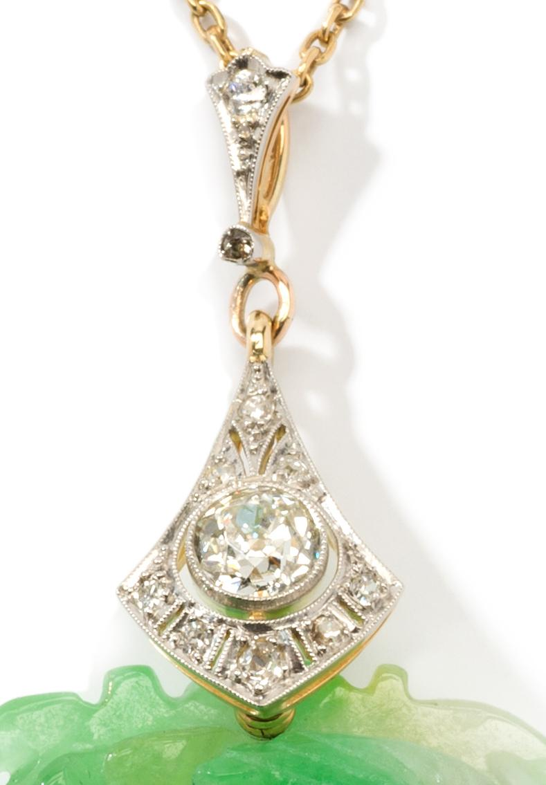 Jade Diamond And Gold Pendant From Art1900 On Rubylux