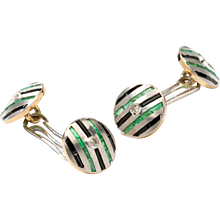 Onyx Emerald Diamond Gold Cufflinks