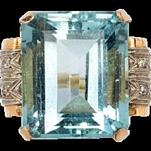1930s Aquamarin Ring with Diamonds