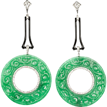 Pair of Earrings with 112 Diamonds & Carved Jade
