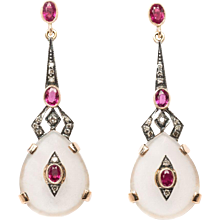 Pair of Earrings with Diamonds & Rock Crystals