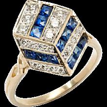 Unusual Sapphire Diamond Gold Geometric Design Ring